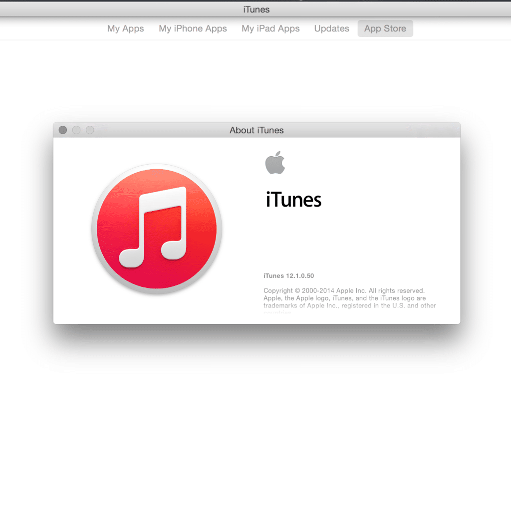 iTunes 12.1 About Screen