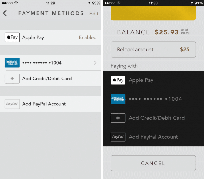 Starbucks app Apple Pay