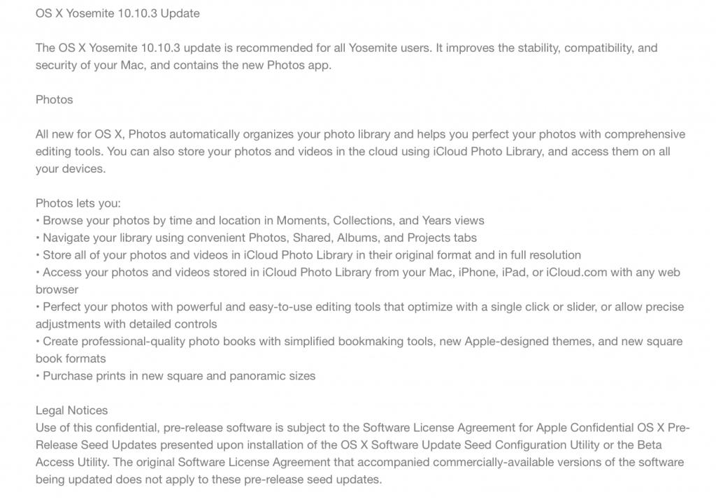 Mac OS X 10.10.3 with Photos