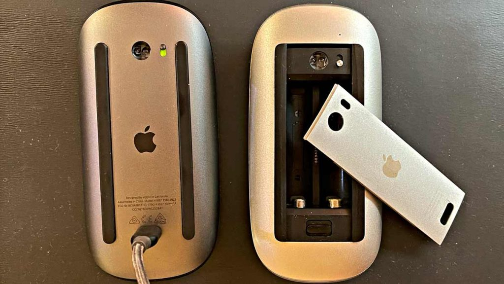 Rear view of both generations of Apple Magic Mouse