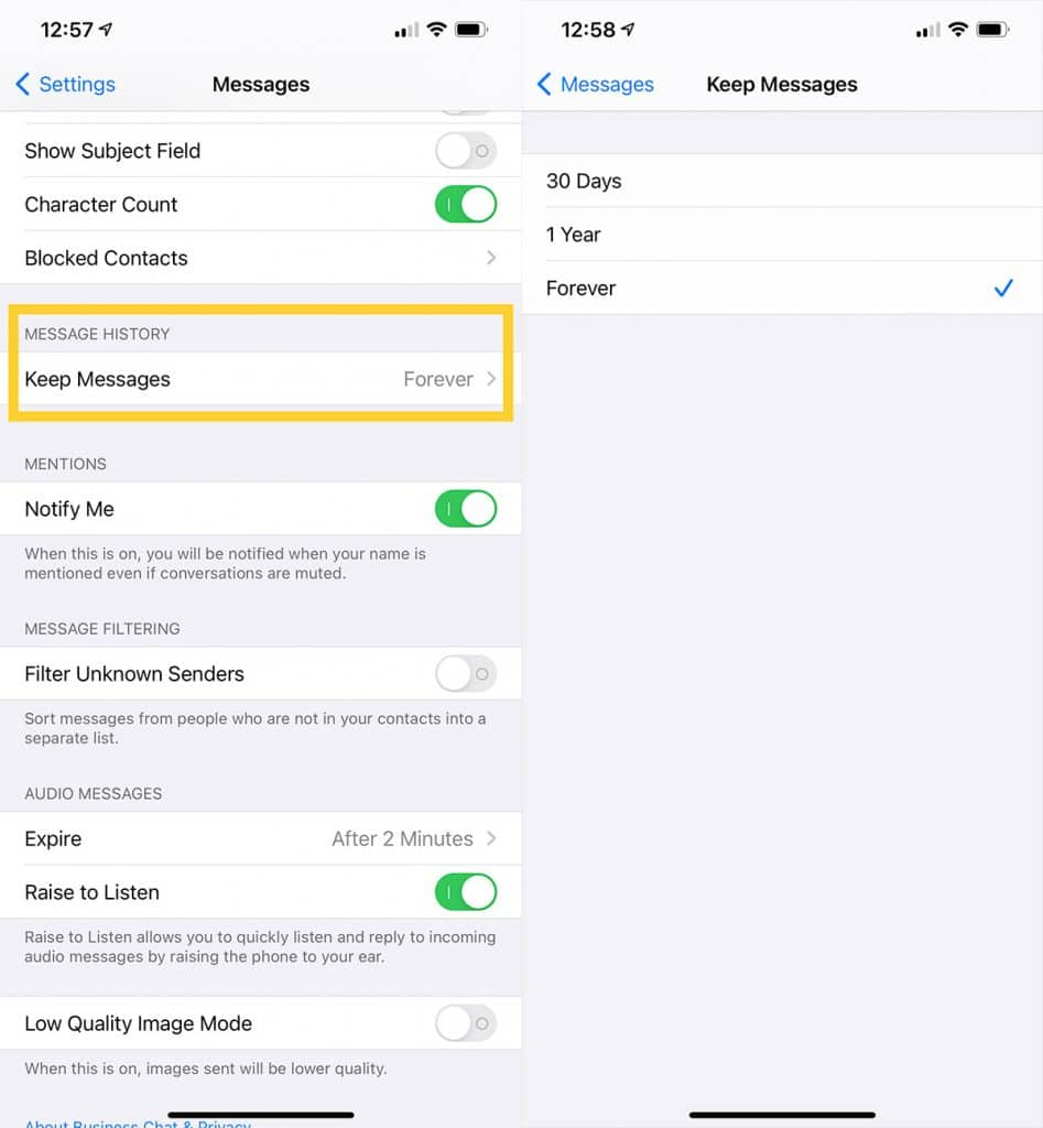 Keep messages forever?