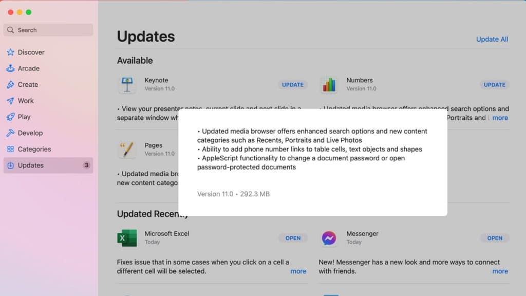 iWork for Mac software update