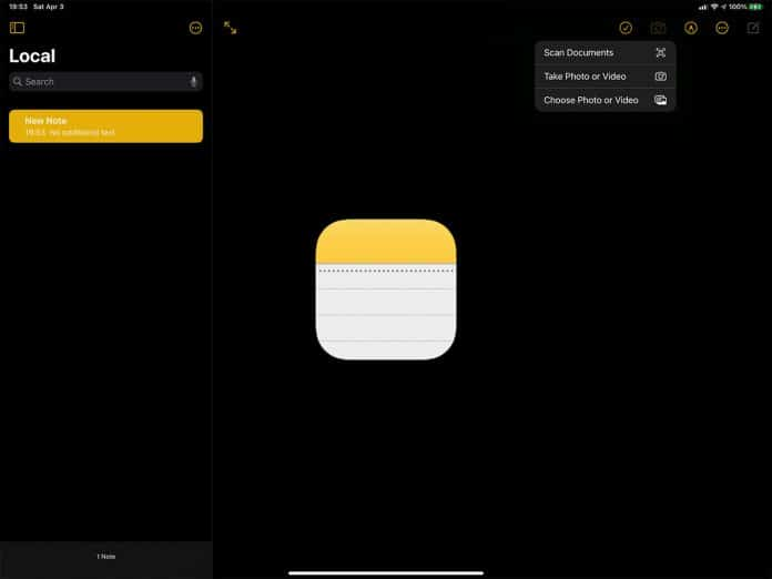 iPad Notes App.