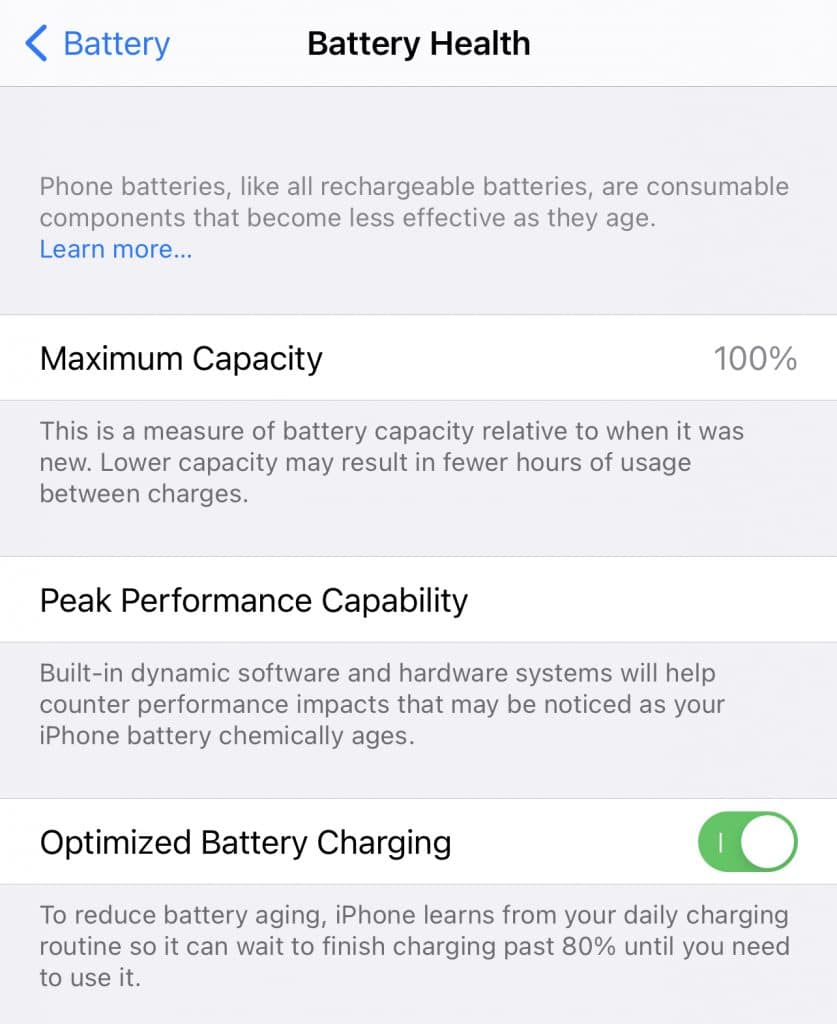 Apple Battery Health Settings.