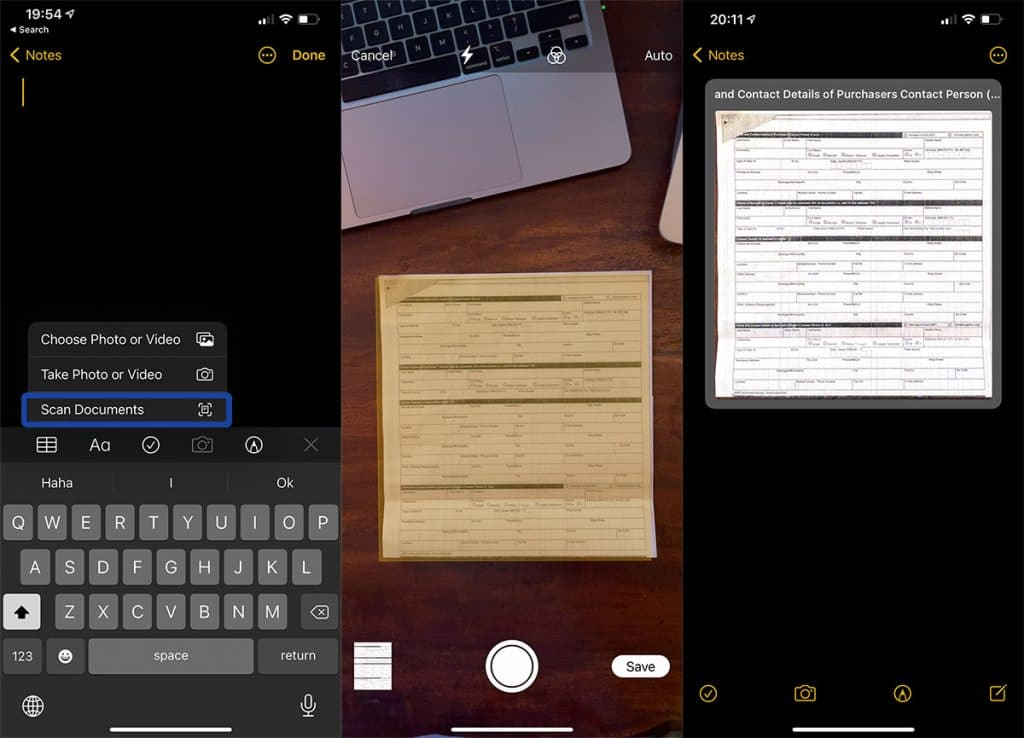 Steps on how to scan a document in the Notes app on iPhone.
