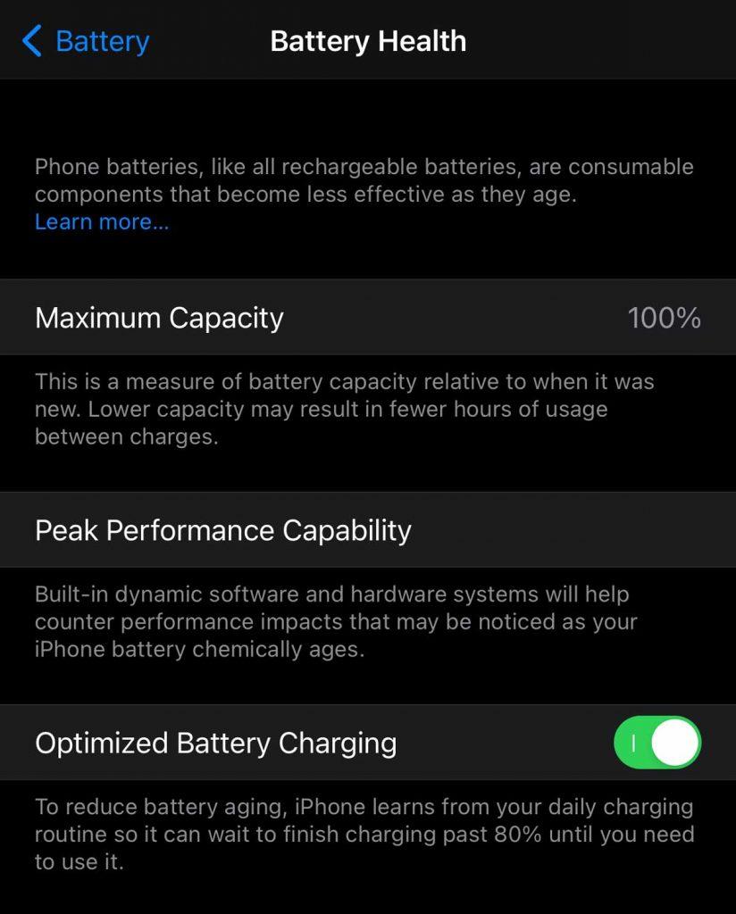 Optimized Battery Charging Settings inside iOS.