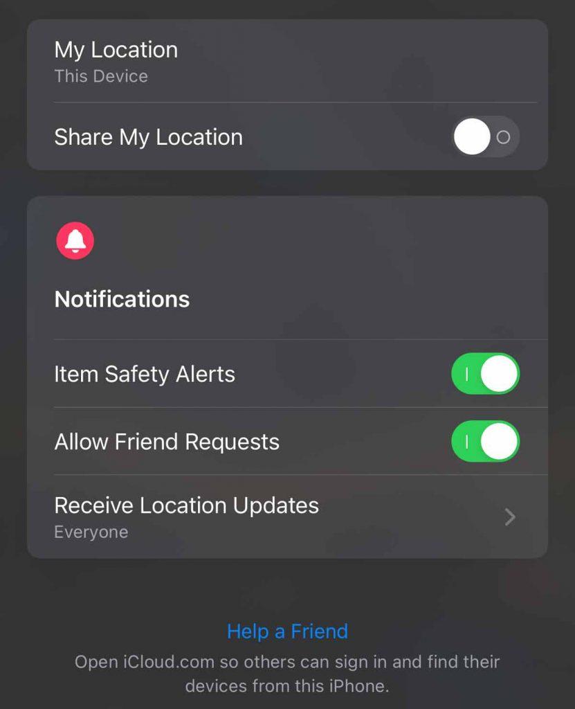 Find My Item Safety Alerts.