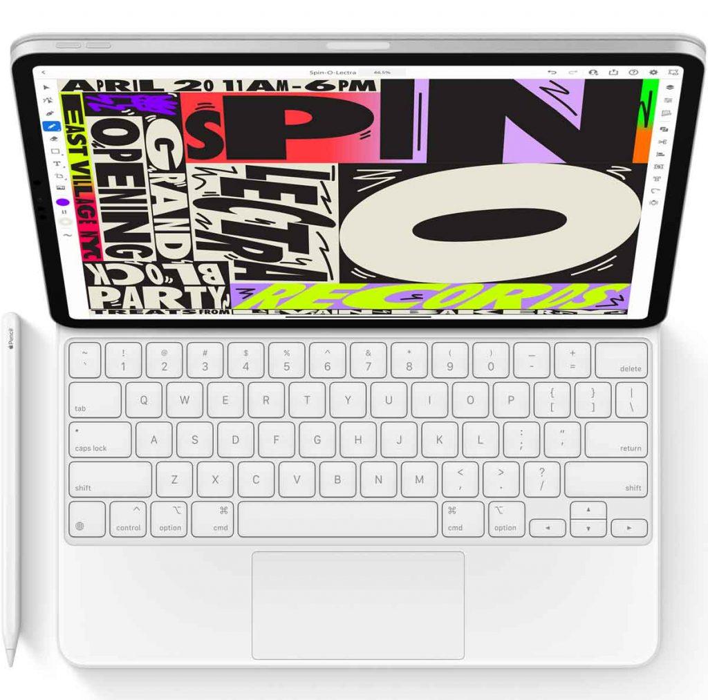 iPad Pro Magic Keyboard in white color.