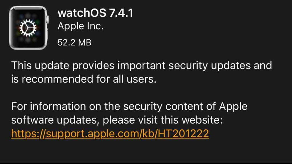 watchOS 7.4.1 update